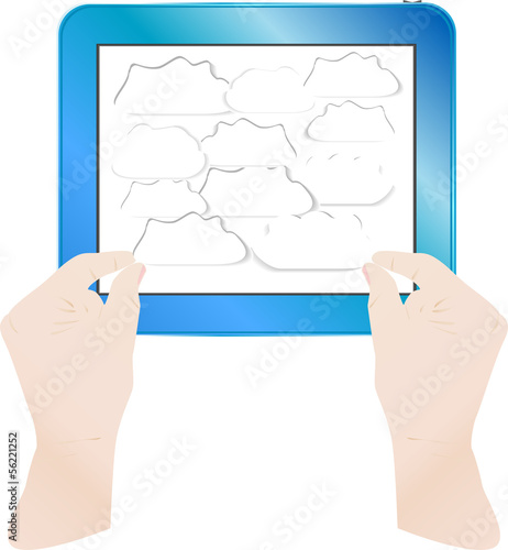 hands with bubbles on computer tablet pc