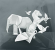 Origami animals illustration