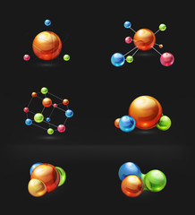 Molecule icon set on black