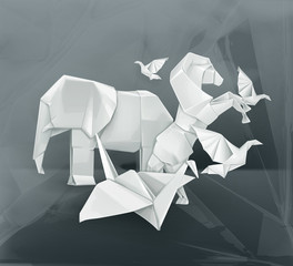 Origami animals illustration