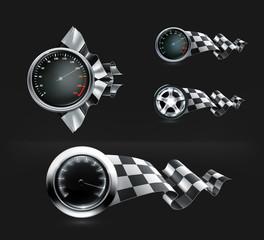 Racing emblems on black