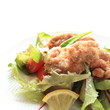fried chicken with baby leaf salad