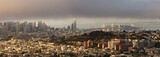 San Francisco and Bay Bridge Panorama on Foggy Summer Afternoon
