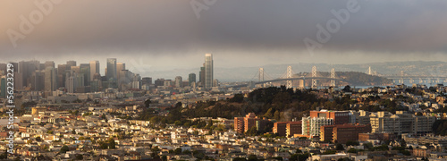 Aluminium San Francisco San Francisco and Bay Bridge Panorama on Foggy Summer Afternoon