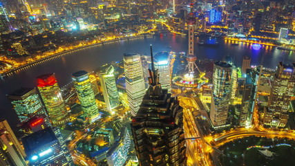 Shanghai China, Time Lapse(aerial view)