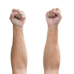 Man hand with a fist isolated on a white background