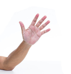 Man hand try to grab something isolated on white background