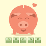 Pink piggy bank love dollars, Business idea