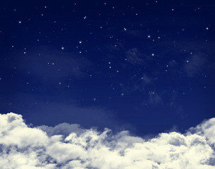 Clouds and stars in a night blue sky