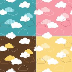 Four seamless retro cloud patterns
