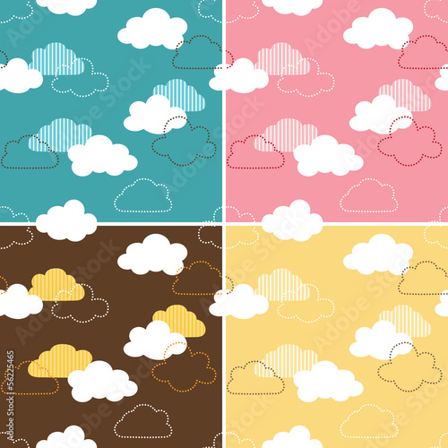 Four seamless retro cloud patterns