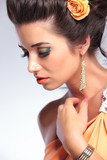 closeup of beauty woman looking away