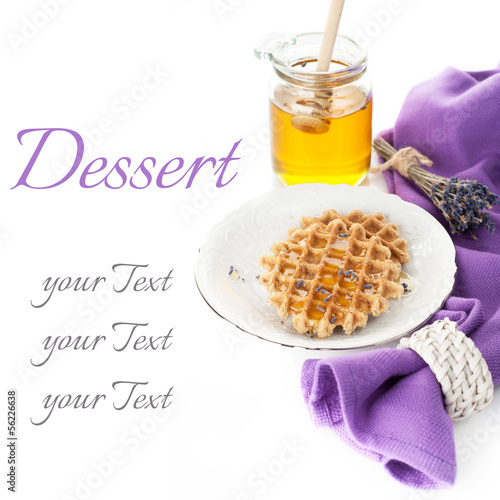 Belgian Waffles with lavender honey and a jar of honey