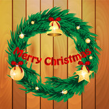 christmas wreath decorated with fir toys on the background of wo