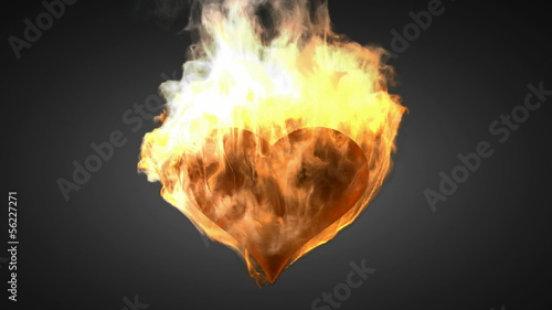 burning heart. Alpha matted