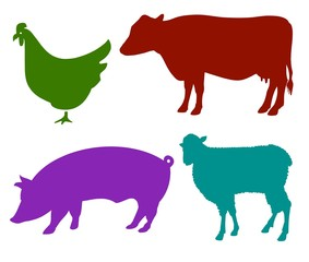 Vector Silhouettes Of Farmyard Animals