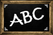 ABC letters and chalk on blackboard