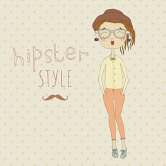 Cute hipster girl drawn in ink on the vintage background.