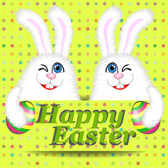 Card with two easter bunnies