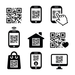 QR code on mobile or cell phone icons set