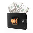wallet with money and combination lock
