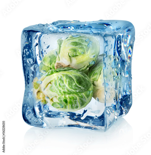 Brussel sprouts in ice cube