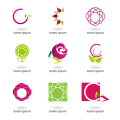 Graphic design - set with flowers of different colors and shapes