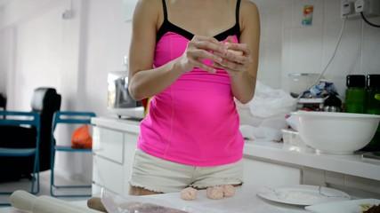 asian woman preparing traditional moon cake deserts