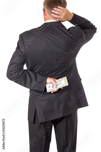 businessman is doubt for taking bribe. isolated on white