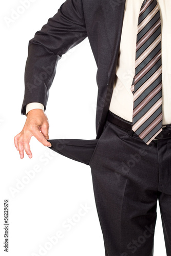 man demonstarting empty pocket isolated on white