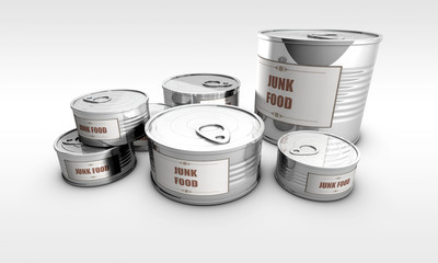 cans with junk food label