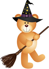 Halloween Teddy Bear with Broom