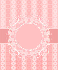 Pink frame with a ribbon on a gentle floral background. Space fo