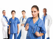 Nurse in front of her medical team