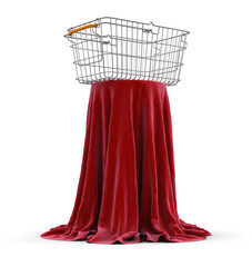 Shopping Basket on Table (clipping path included)