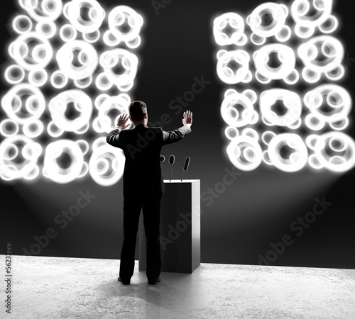 businessman standing on stage