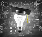 lamp with graduation hat and drawing business concept