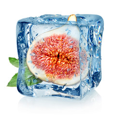 Figs in ice cube