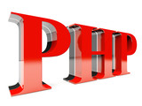 PHP in 3D on white background