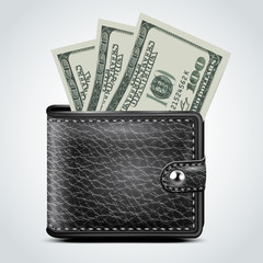 Black Leather Wallet. Dollar USA . Vector