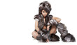 beautiful woman in barbarian costume at white background