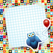 Owl and balloon, custom background