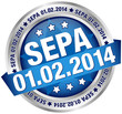 "Button Banner ""SEPA"" Datum blau/silber"