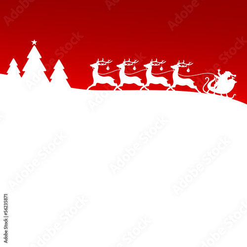 Christmas Sleigh Silent Night Red Xmas Card