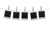 Fototapety Blank photos hanging on the clothesline