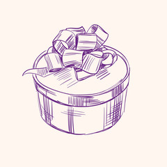 Vintage gift box vector illustration  sketch