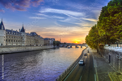 Sunset landscape in Paris