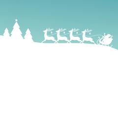 Christmas Sleigh Silent Night Retro Xmas Card