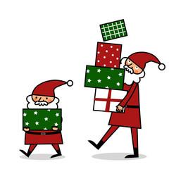 プレゼントを運ぶサンタクロース