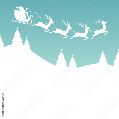 Christmas Card Sleigh 4 Reindeers Retro